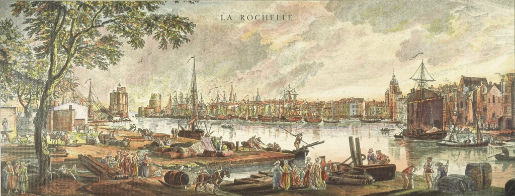 FRANCE: LA ROCHELLE, 1762.  View of the harbor of La Rochelle, France. Copper engraving, 1767, after a painting, 1762, by Joseph Vernet.